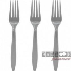 24 Forchette Plastica Argento 18 cm