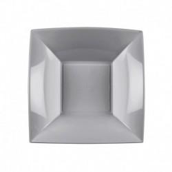 Piatti Quadrati Plastica Argento 18 cm