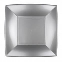 8 Piatti Quadrati Plastica Argento 23 cm