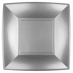 8 Piatti Quadrati Plastica Argento 29 cm