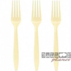 24 Forchette Plastica Avorio 18 cm