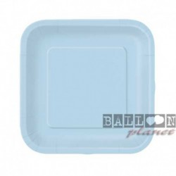 16 Piatti Quadrati Carta Azzurri 18 cm
