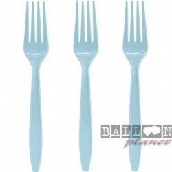 24 Forchette Plastica Azzurre 18 cm