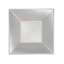 8 Piatti Quadrati Plastica Bianchi 18 cm