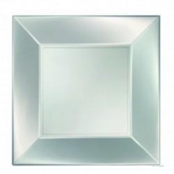 8 Piatti Quadrati Plastica Bianchi 23 cm