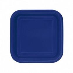 16 Piatti Quadrati Carta Blu Navy 18 cm