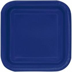 14 Piatti Quadrati Carta Blu Navy 23 cm