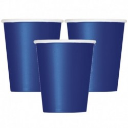 8 Bicchieri Carta Blu Navy 266 ml