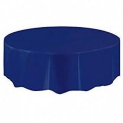 Tovaglia Plastica Tonda Blu Navy 205 cm