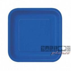 16 Piatti Quadrati Carta Blu Royal 18 cm