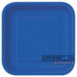 14 Piatti Quadrati Carta Blu Royal 23 cm