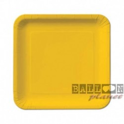 16 Piatti Quadrati Carta Gialli 18 cm