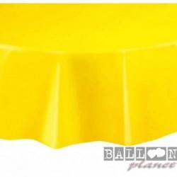 Tovaglia Plastica Tonda Gialla 205 cm