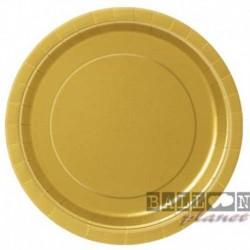 16 Piatti Tondi Carta Oro 23 cm