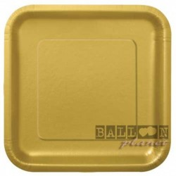 14 Piatti Quadrati Carta Oro 23 cm