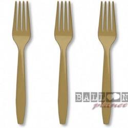 24 Forchette Plastica Oro 18 cm