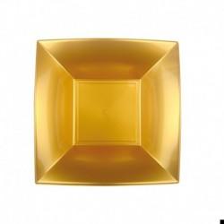 8 Piatti Quadrati Plastica Oro 18 cm
