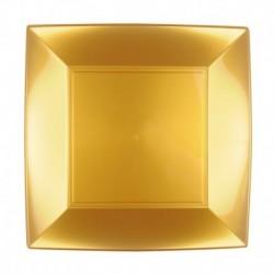 8 Piatti Quadrati Plastica Oro 23 cm