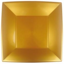 8 Piatti Quadrati Plastica Oro 29 cm