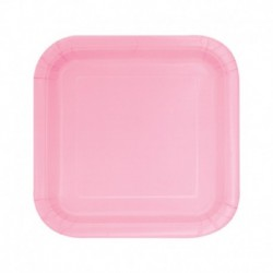 16 Piatti Quadrati Carta Rosa 18 cm