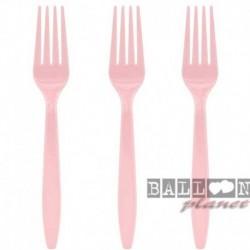 24 Forchette Plastica Rosa 18 cm