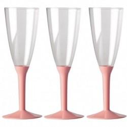 6 Flütes Plastica Rosa 120 ml