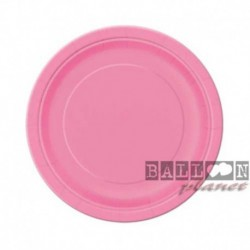20 Piatti Tondi Carta Rosa Hot 18 cm