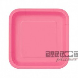 16 Piatti Quadrati Carta Rosa Hot 18 cm