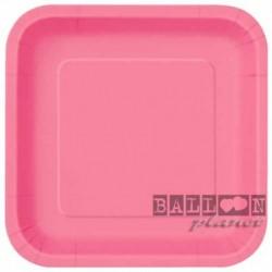 14 Piatti Quadrati Carta Rosa Hot 23 cm