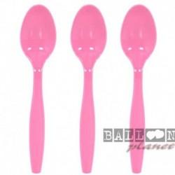 24 Cucchiai Plastica Rosa Hot 18 cm