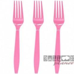 24 Forchette Plastica Rosa Hot 18 cm