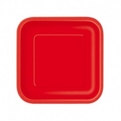 16 Piatti Quadrati Carta Rossi 18 cm