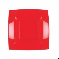 8 Piatti Quadrati Plastica Rossi 18 cm