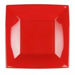 8 Piatti Quadrati Plastica Rossi 23 cm