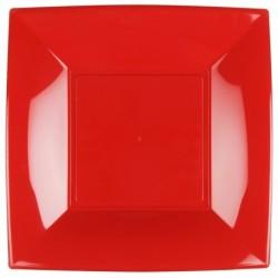 8 Piatti Quadrati Plastica Rossi 29 cm